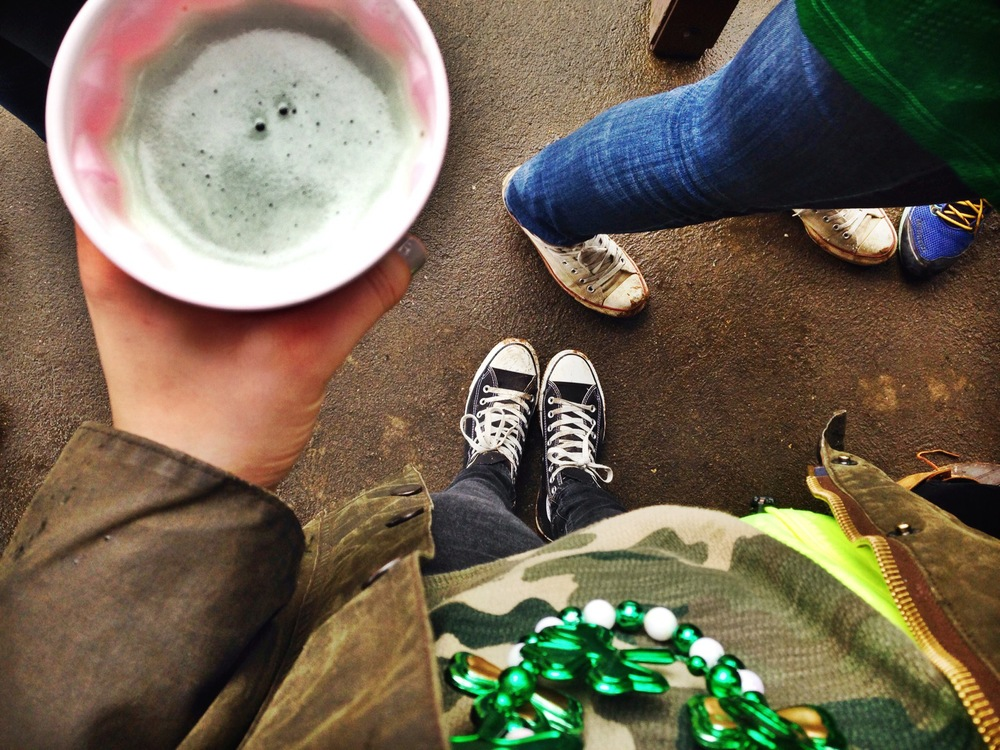 {Green beer and mardi gras beads for St. Patty's Day!}