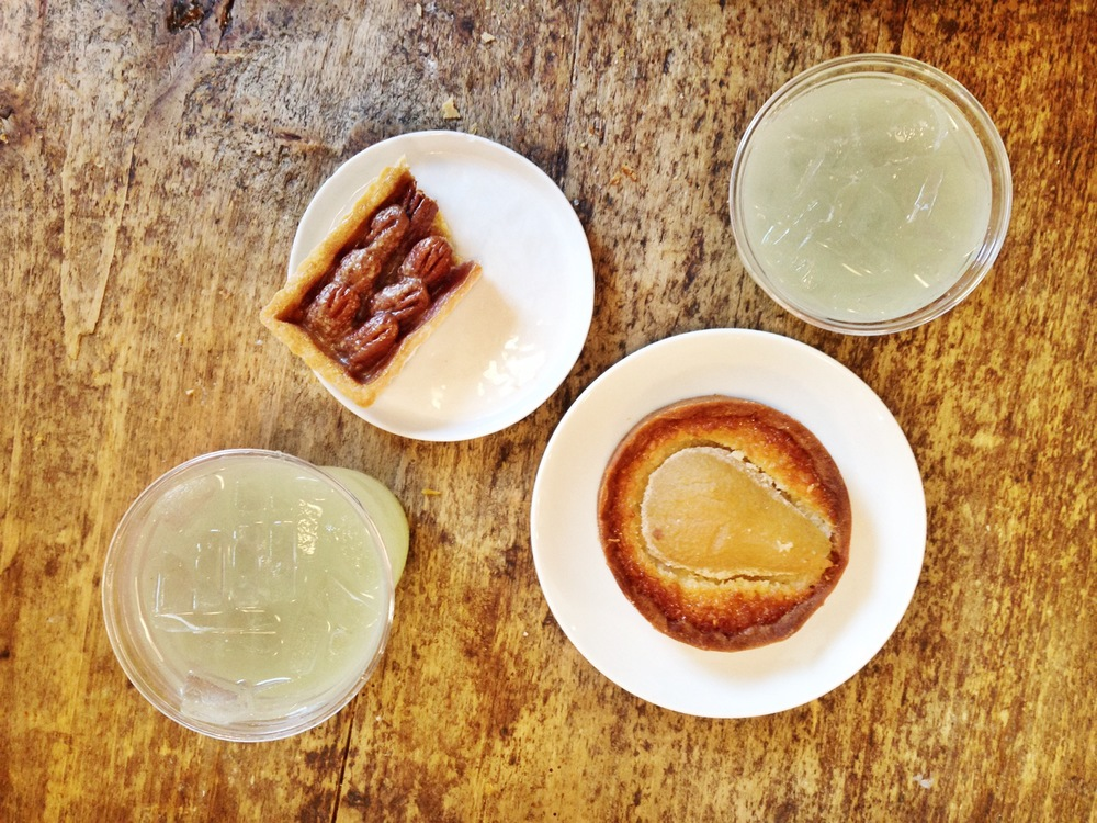 {The most amazing mint lemonade, pear tart and pecan box}