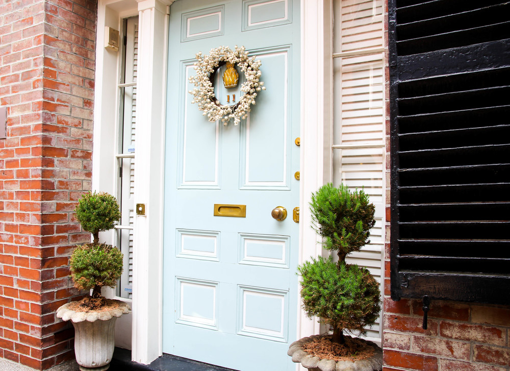 {A beautiful robin's egg blue door in Beacon Hill}