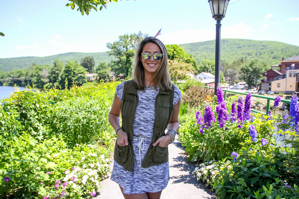 { Lou & Grey dress , Old Navy vest ( similar ), vintage sunglasses,  Bensimon shoes }