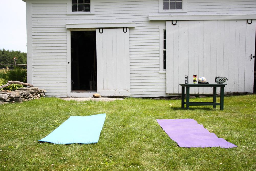 {Morning yoga outside}