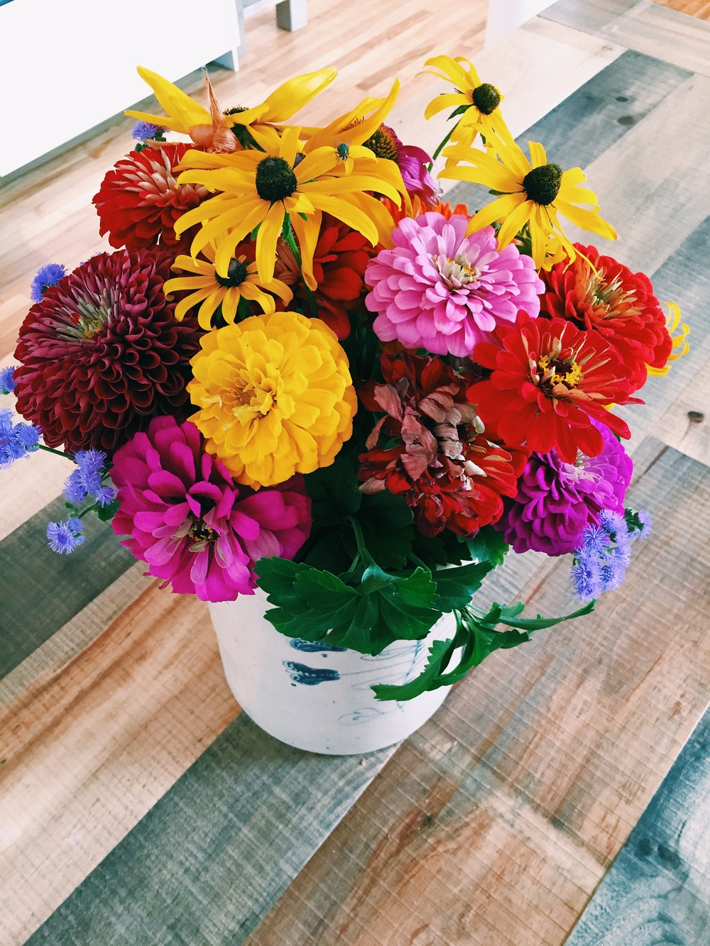 {Some pretty flowers at  Saltbox Kitchen }