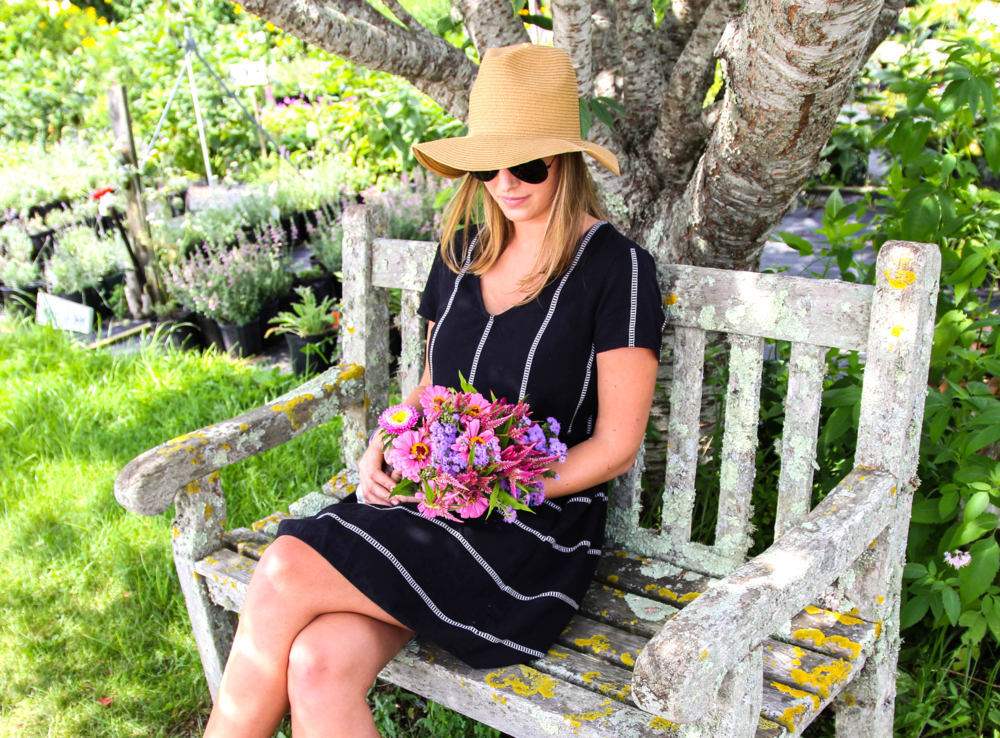 {Old Navy dress (on sale), Ray Ban sunglasses, Madewell Hat (sold out, similar here)}