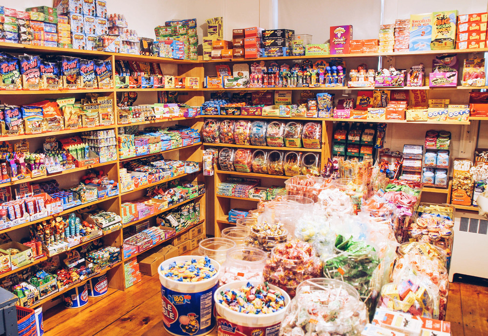 {Force Five Watersports has a hidden candy room in the back...every child's (read: my) dream}