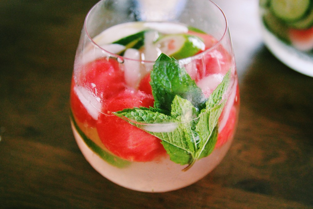 {A watermelon, cucumber and mint spritzer I made recently}