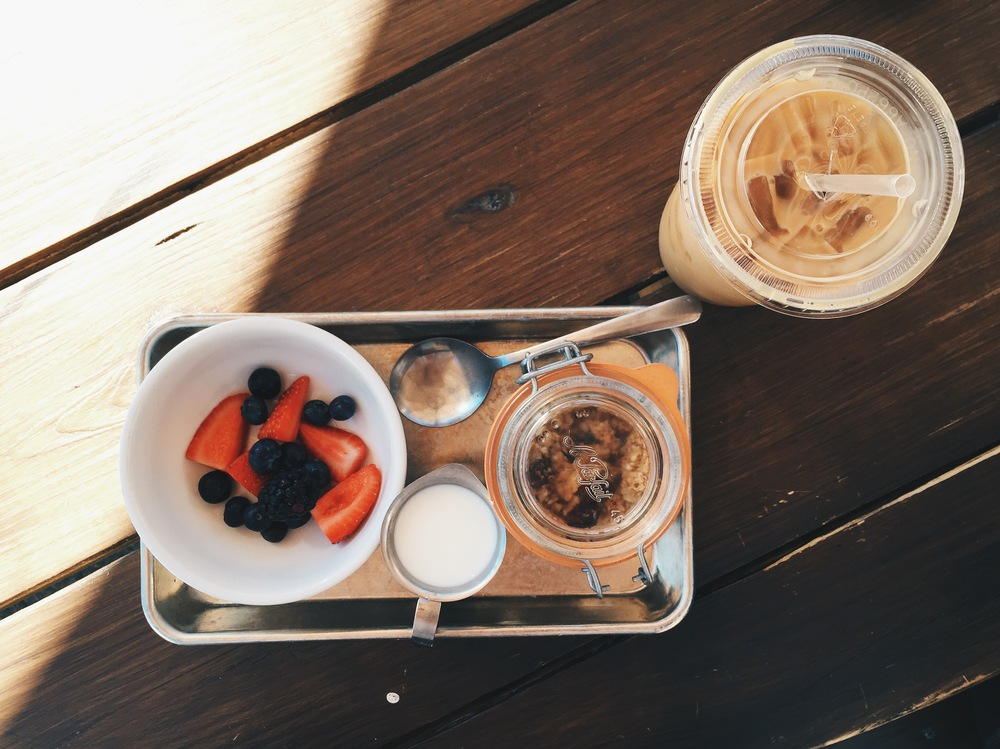 {Quinoa granola and fresh fruit at Haute Coffee}