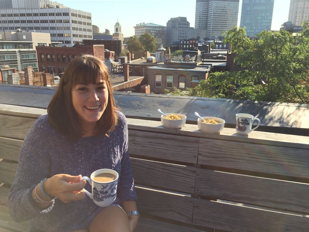 {Breakfast on the roof deck with sis}
