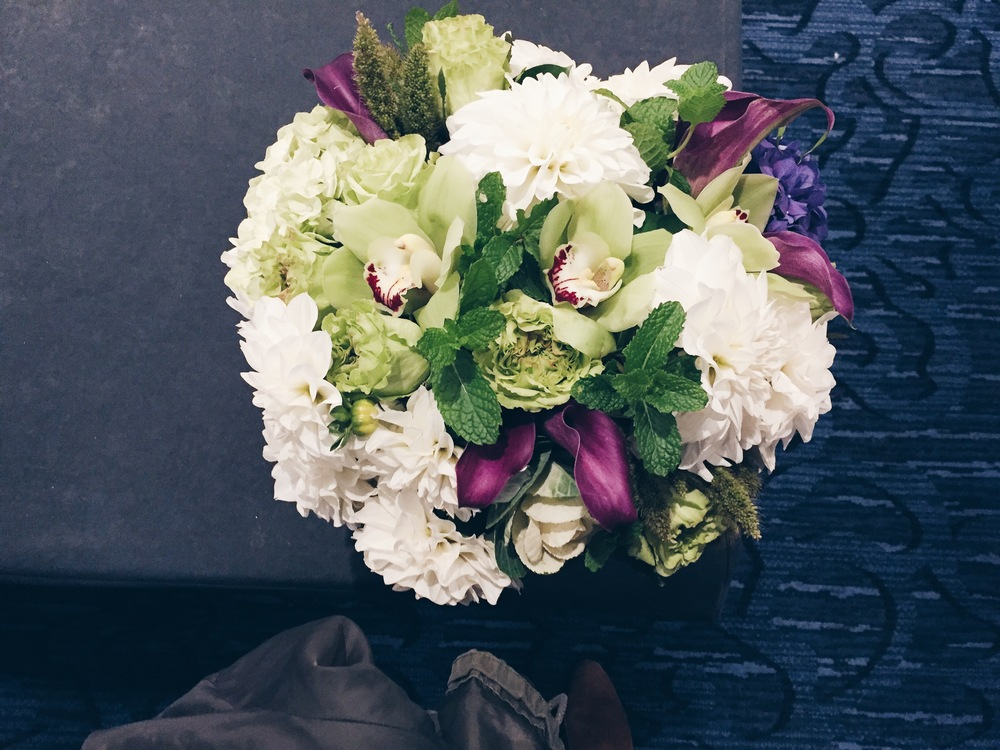 {Beautiful flower arrangements with mint at last week's Heart Home conference hosted by Wayfair}
