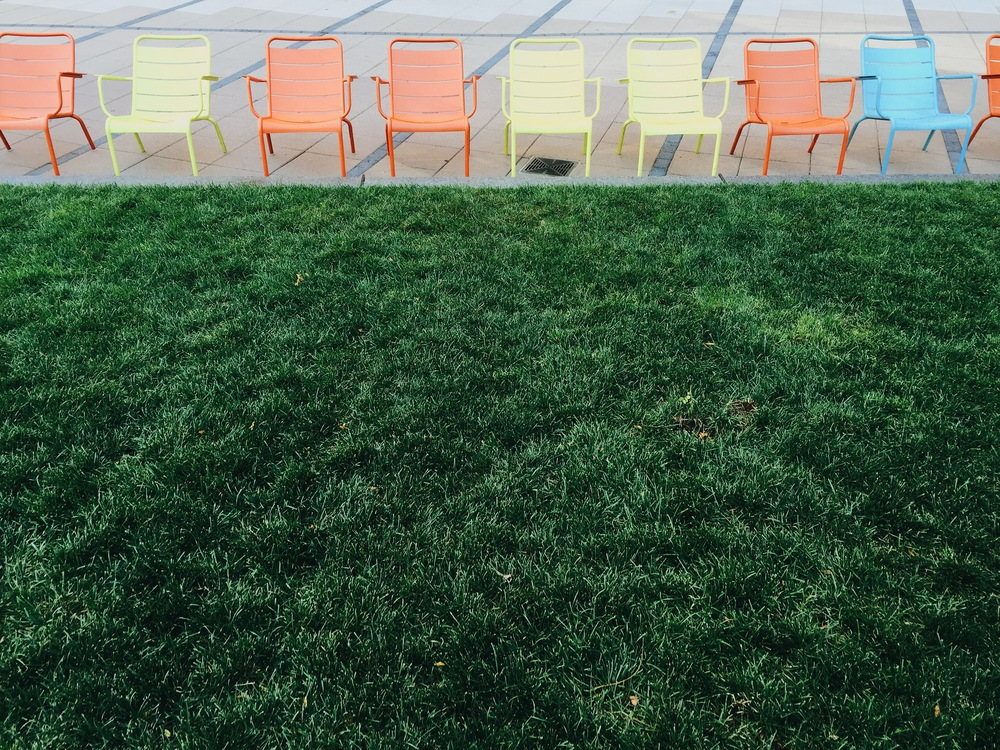 {Colorful chairs in Kendall Square}