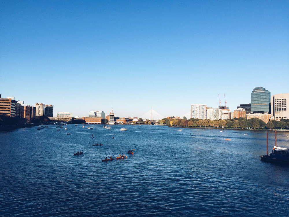 {The view from the Charles on my daily walk home from work}