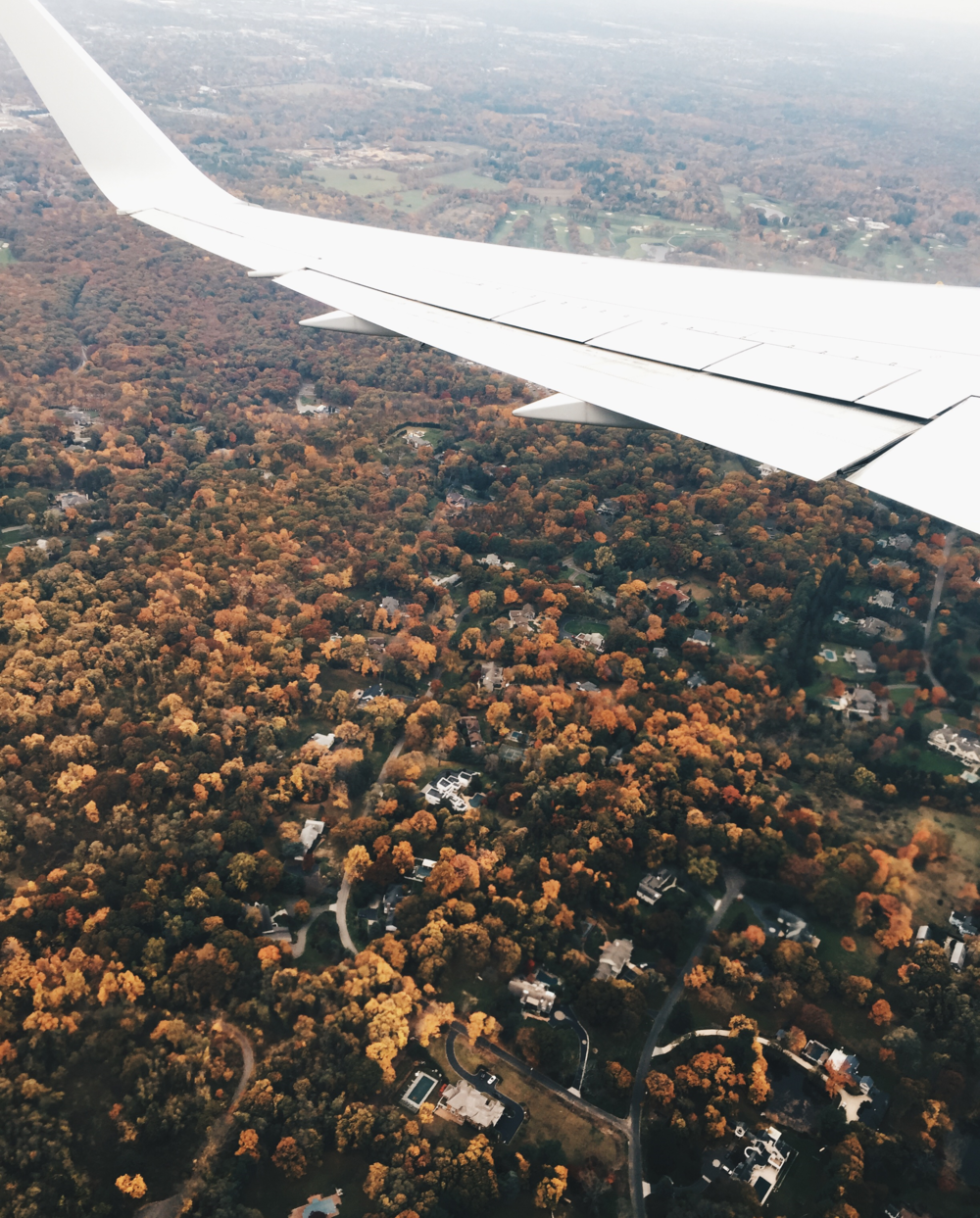 {Flying over some fall foliage on our way back to Boston}