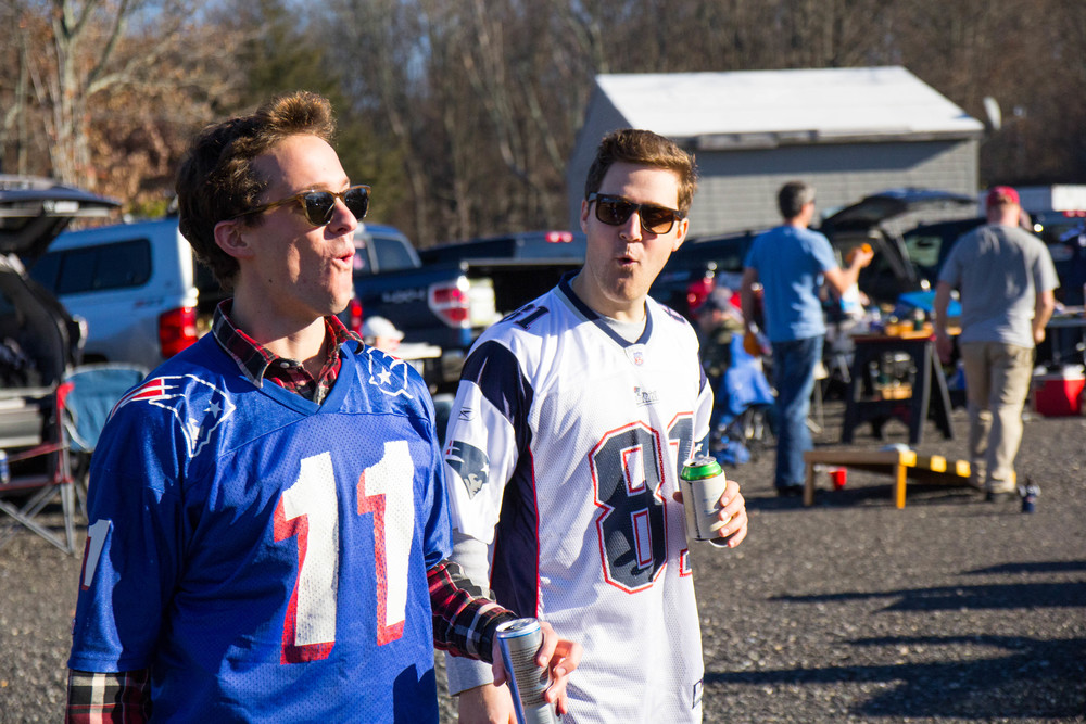 {Pete and Spencer at last week's Pats game}