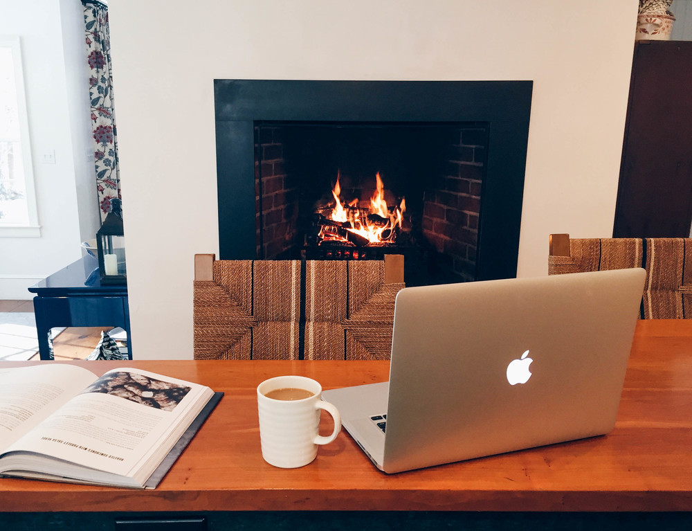 {Coffee + fire + dog...working from home is the absolute best}