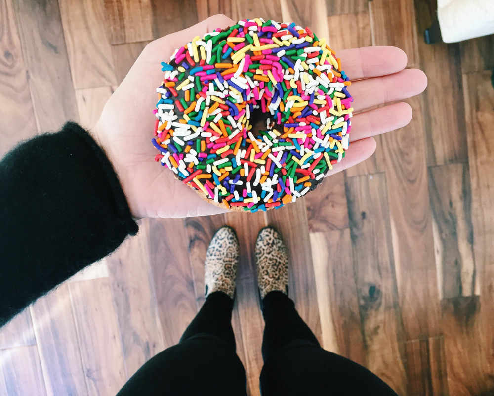 {Sometimes all you need is a birthday cake donut from  Union Square Donuts  to get you through the week}