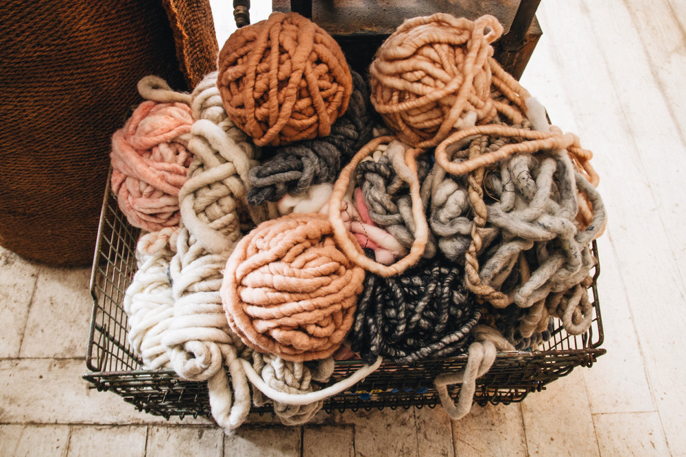I just want to cuddle up in a bed full of this chunky, soft, yarn