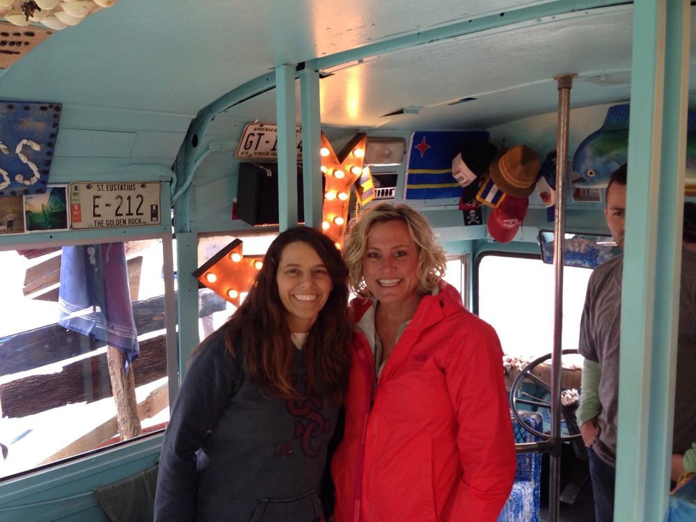 Jen and me on the bus from the American Kids video