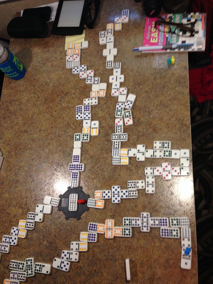 Mexican Train takes up the whole table!