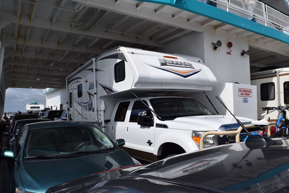 We aren't the only truck camper on the ferry, see the one a few cars back?