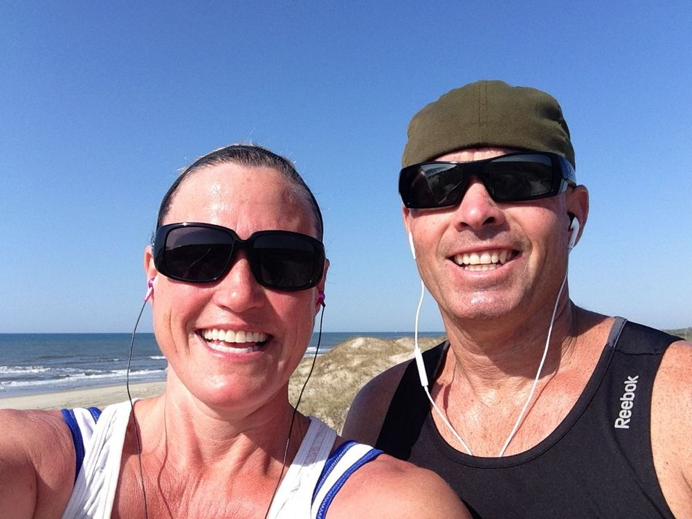 Working off those burgers with a run on the beach!