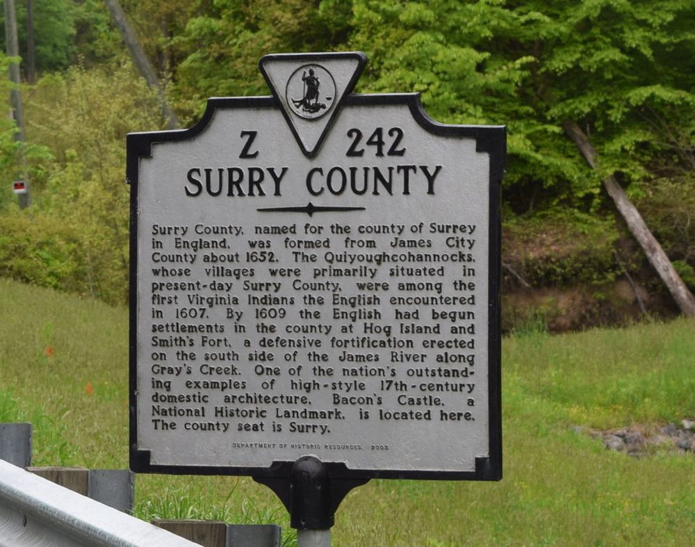 On the way to Richmond we drove by where my ancestors lived. My nine times Great Grandfather was involved in making the area they lived in a county and naming it Surry. I have a copy of the court record from 1652.