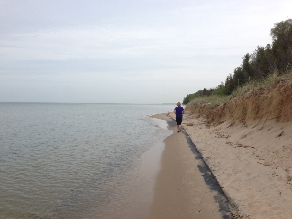 This time, I'm being chased by Paul. Lake Michigan.