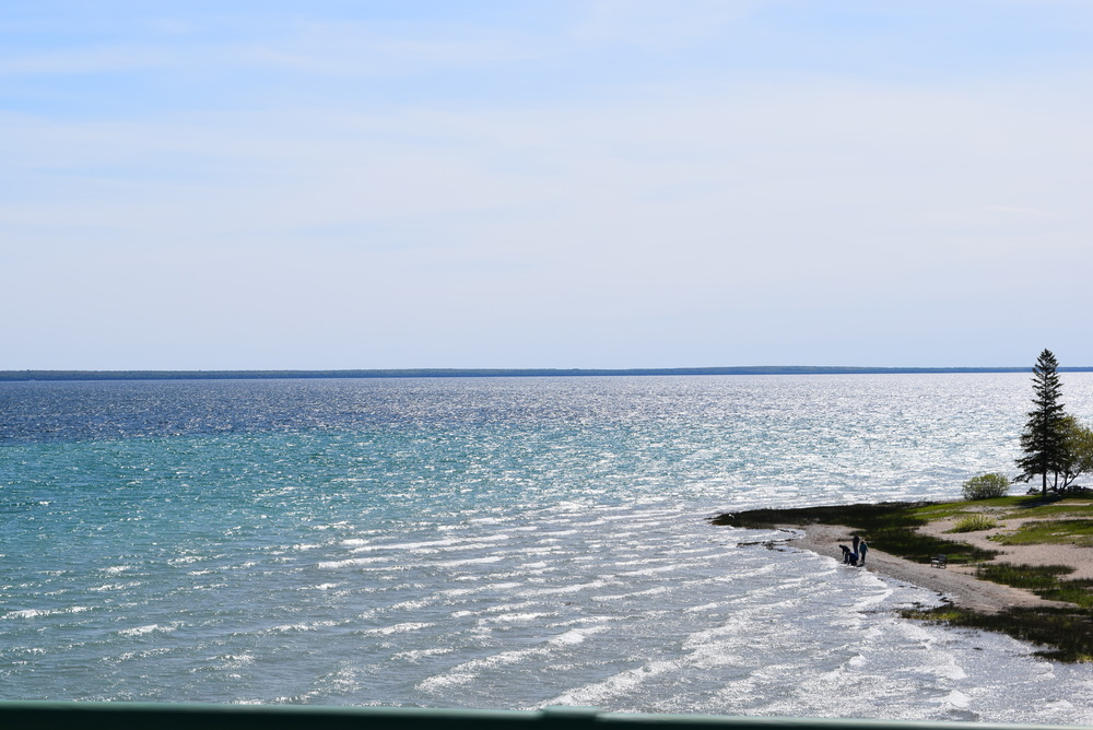 The meeting of Lake Huron and Lake Michigan.