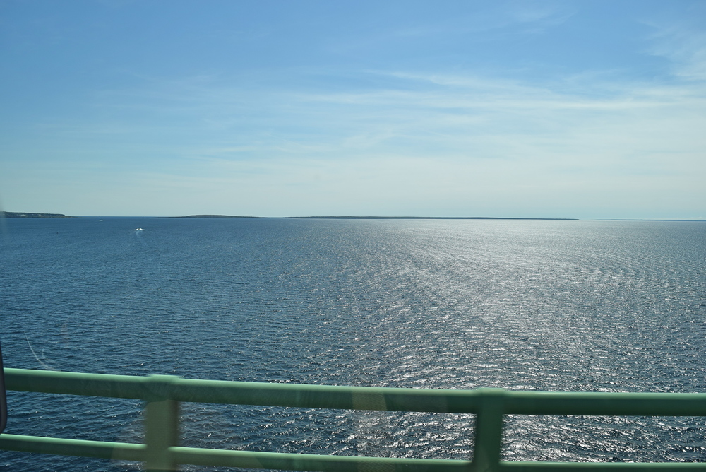 Another shot of Lakes Huron and Michigan.