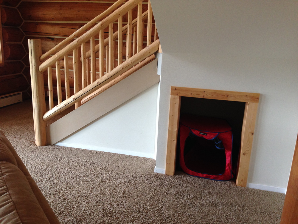 Fiona's Harry Potter room under the stairs. I put her pop up crate in there to show her that is her room.