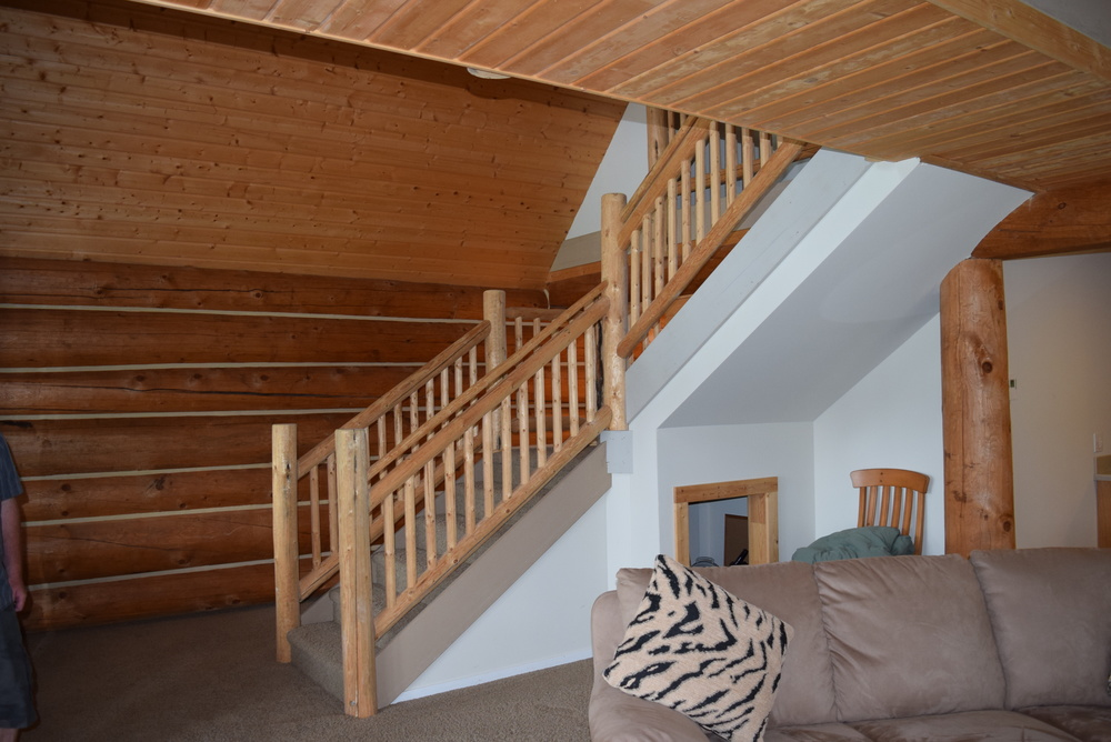 the stairs from the living room.