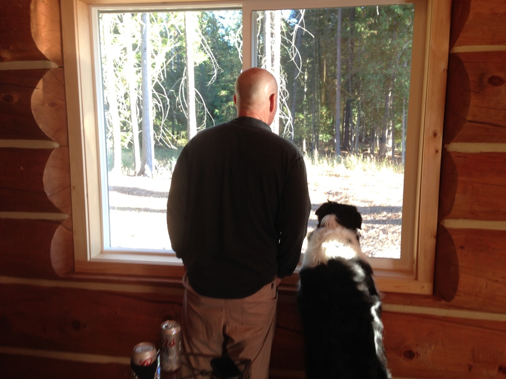Fiona and Daddy looking for wildlife.
