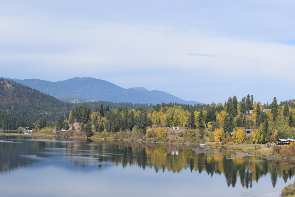 The trees along the river are changing colors. Fall on the Pend Oreille River.