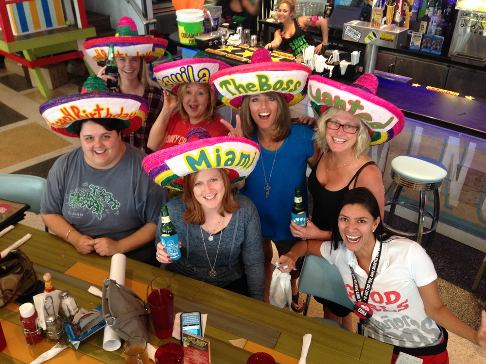The No Shoes Nation gang in Miami. Jordyn, Shari, Connie, me, Noelle, Michelle, and our server.