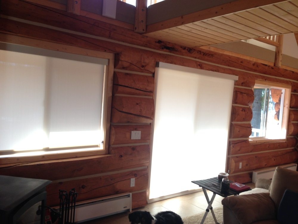 New window coverings to cut down the glare when we watch TV.