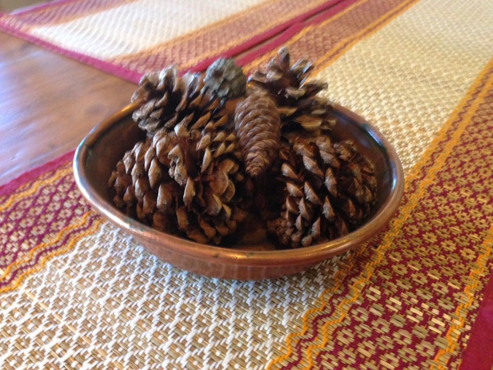 Filled the copper bowl my Mama gave me with pine cones from the yard.
