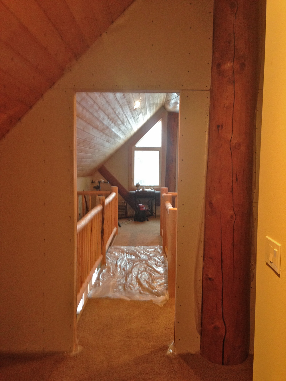 Looking out from my bedroom through the new doorway.