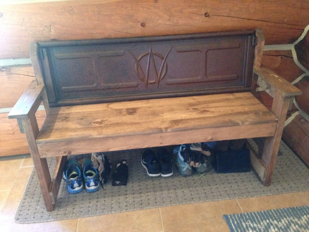My new Willy's Jeep tailgate bench for the entry way. I need to get some baskets or boxes for the shoes.