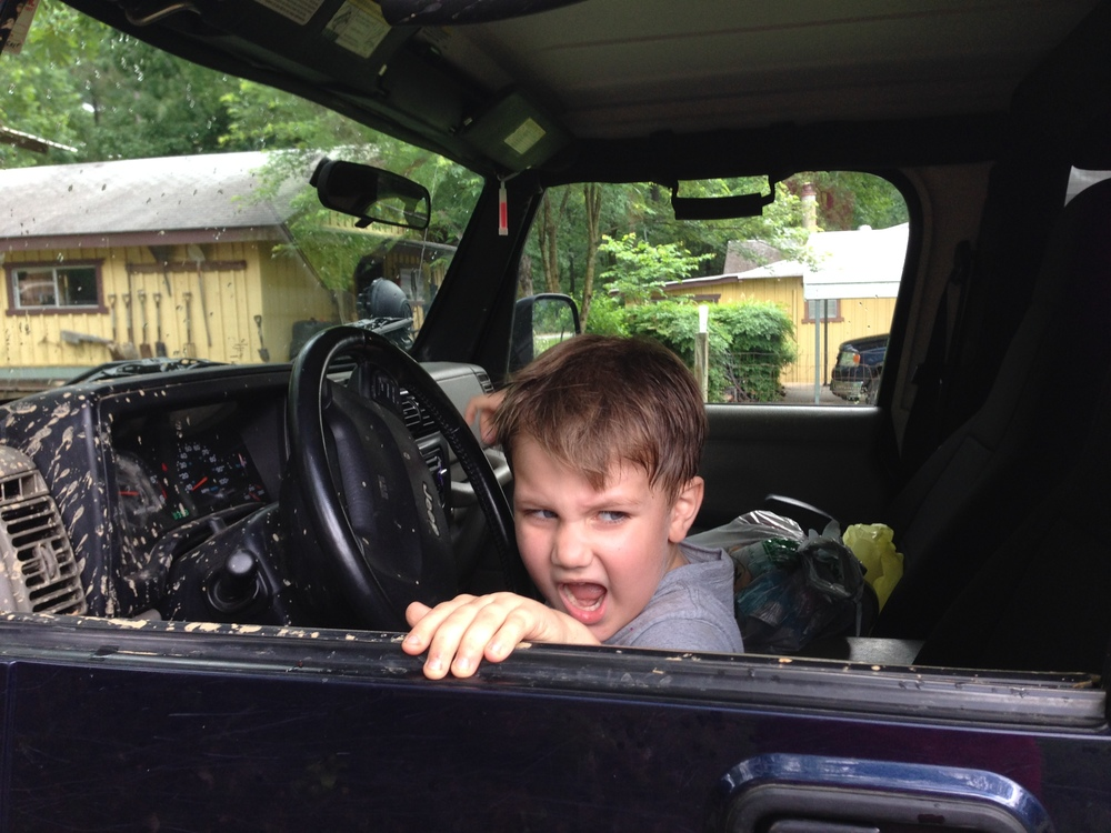 Ben backed up the jeep, all by himself. (Gulp)