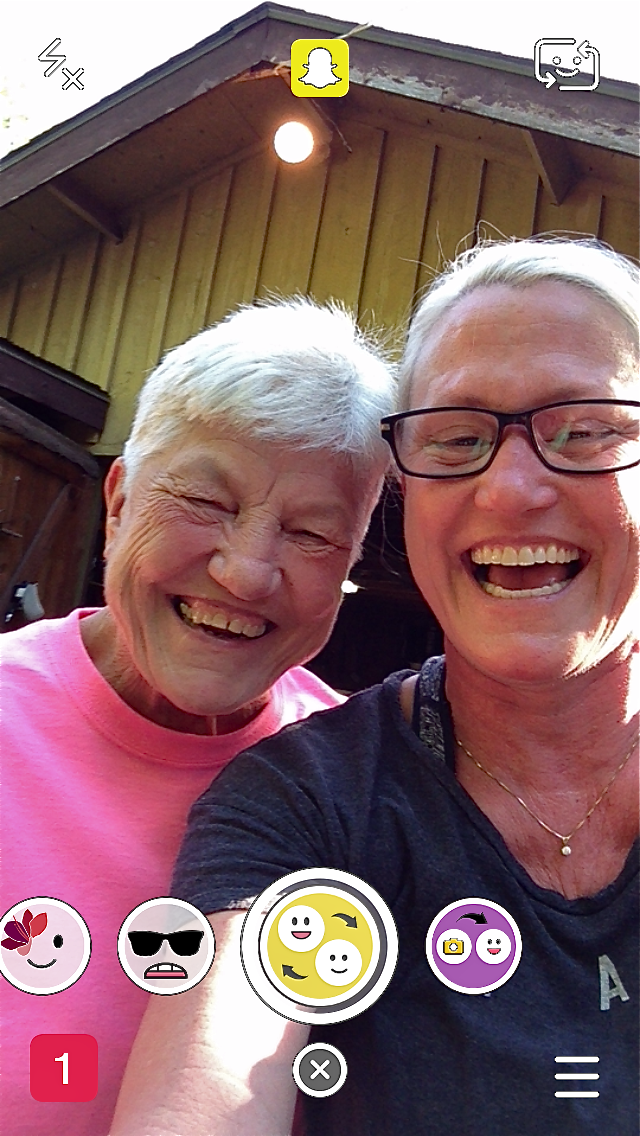 I don't really get Snapchat, but this is Aunt Linda and me laughing at the face swap. I didn't capture the swap, but us laughing is such a fun shot.