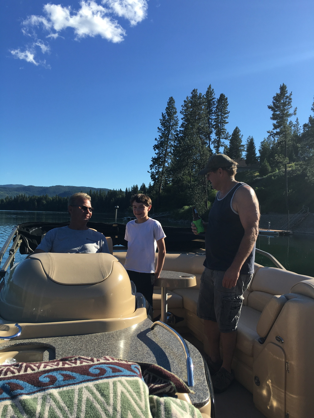 Having fun on the water. Stan, Little Rennie, and Jerry