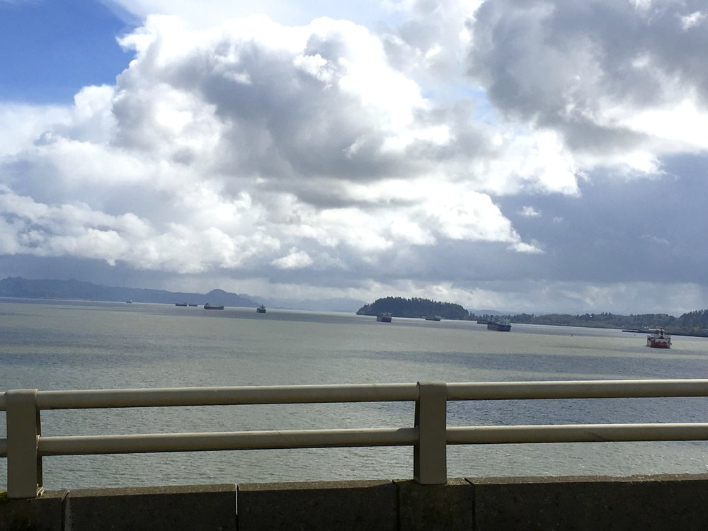 There were lots of cargo ships at the mouth of the Columbia River. Here's where we crossed over into Oregon.