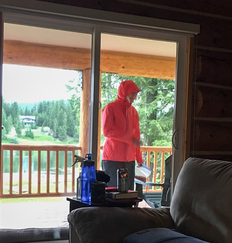 When you've showered off the Deet for the day and the dog needs to go out, my solution to battle mosquitos, wear rain gear!