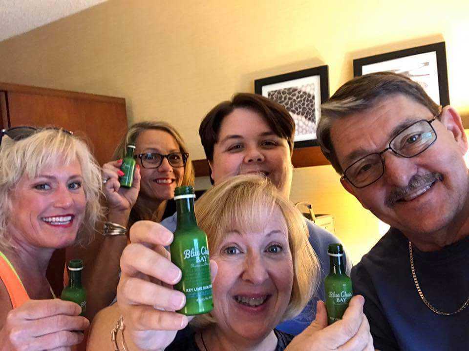 Cheers to great friends! Greg & Shari from Tampa, FL, Noelle from Eagan, Minnesotta, Sally, and me. Having a little rum before the concert.
