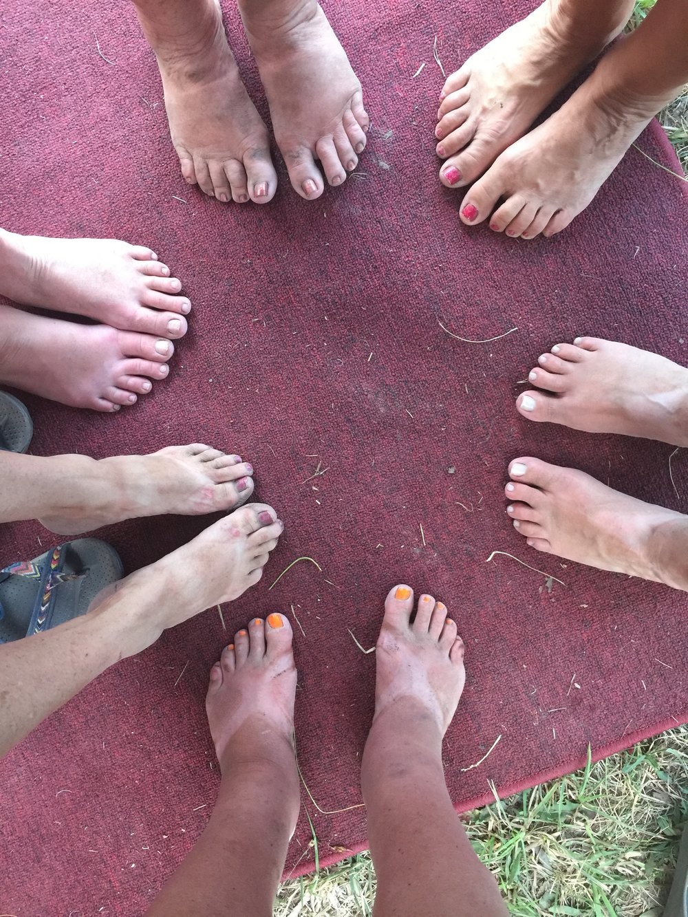 Camping gives you dirty feet!