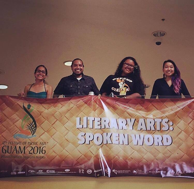 Guest Spoken Word Poetry Facilitator at the 2016 Festival of Pacific Arts in Guam. Along side Kathy Jetnil-Kijiner, Melvin Won Pat Borja, and Nicole Quintanila.