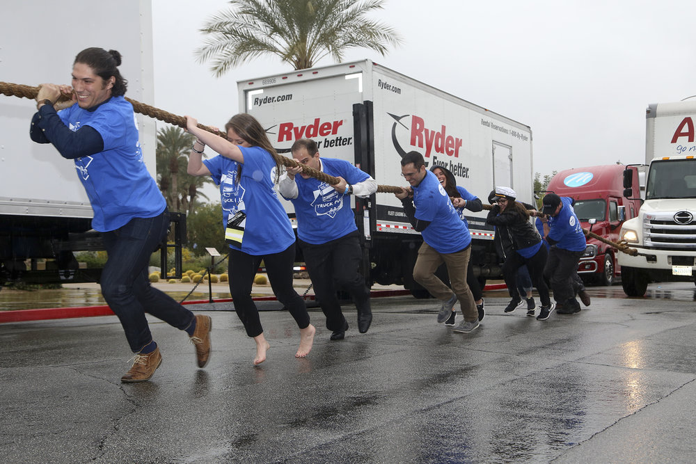 Updater's truck-pulling team braving the elements!