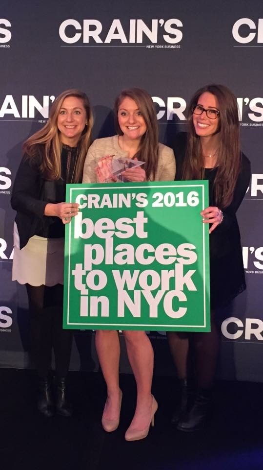 Lindsey Dole, Jenna Weinerman, and Amanda Fischer at the  Crain's  Best Places to Work in NYC Luncheon