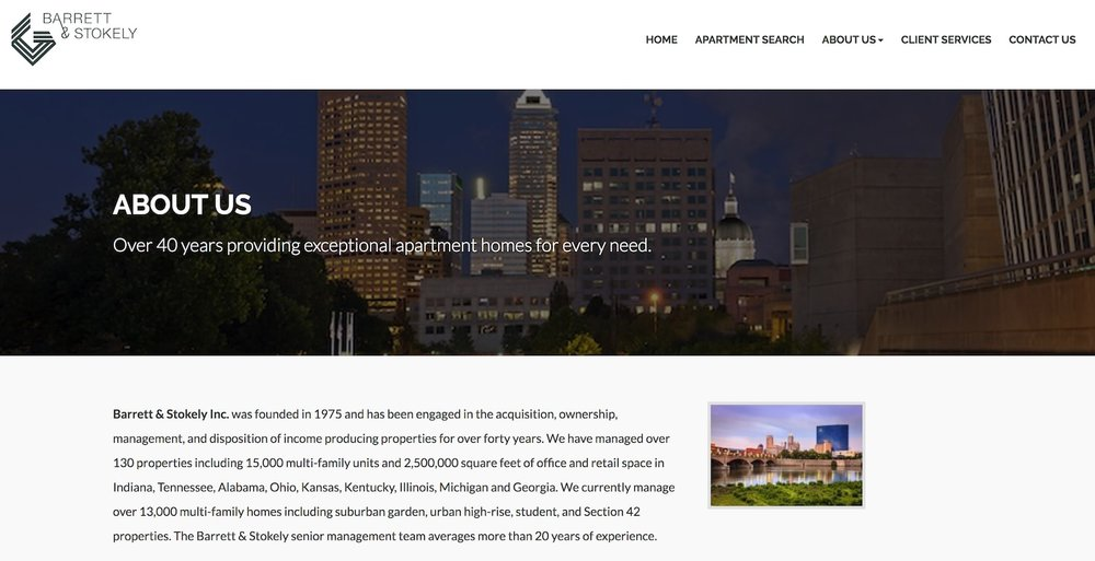 barrett and stokely website - best property management website designs