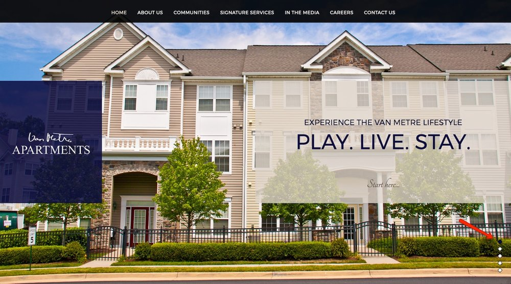 van metre apartments - best property management website designs
