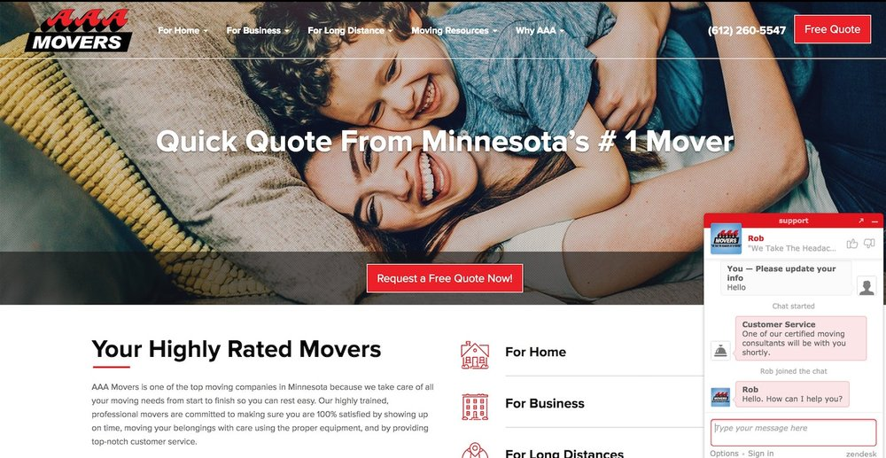 aaa - top moving company website design