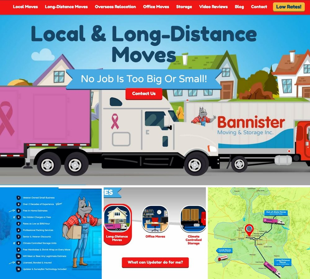 bannister collage - top moving company website design